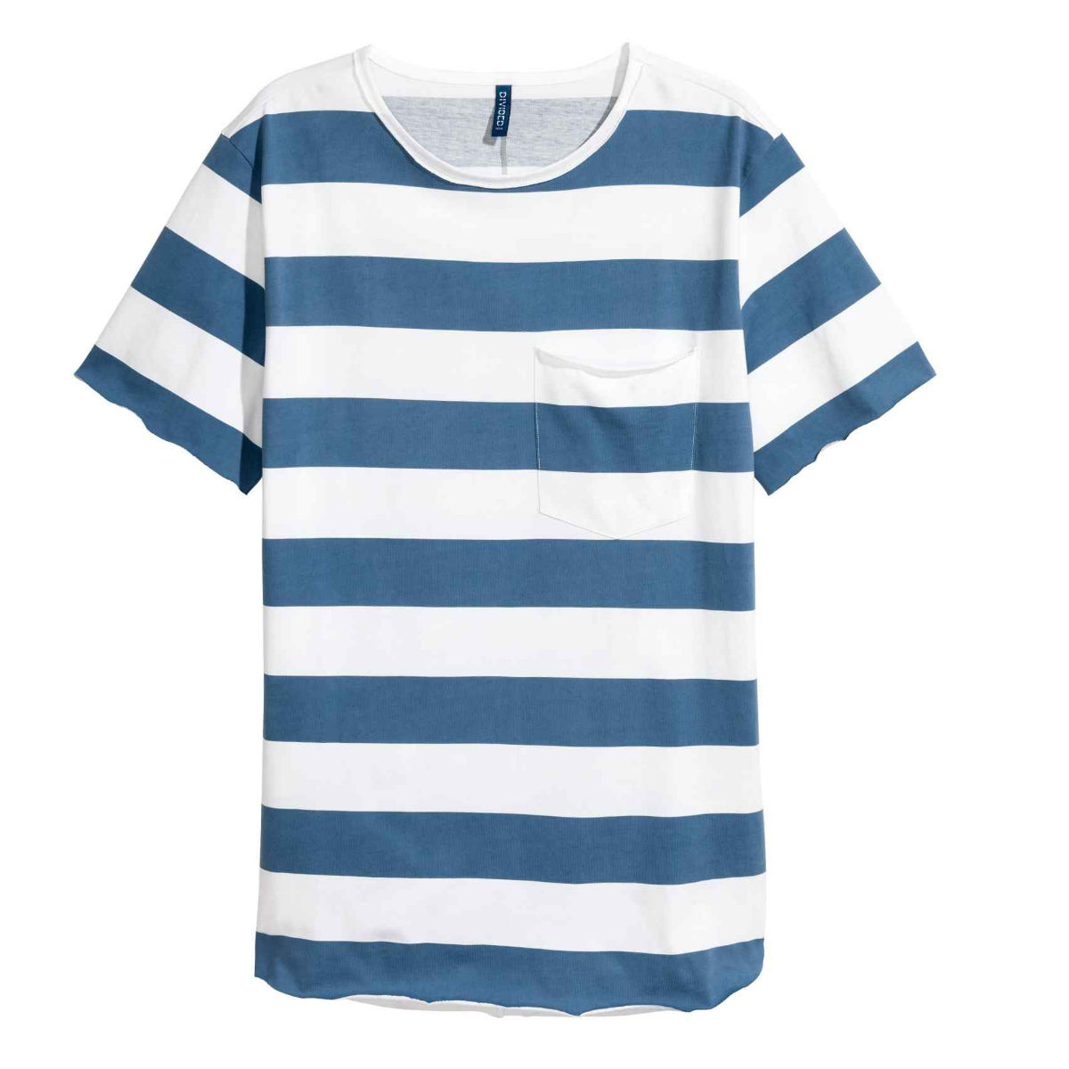 Blue and white stripe t-shirt with pocket, £8.99, H&M