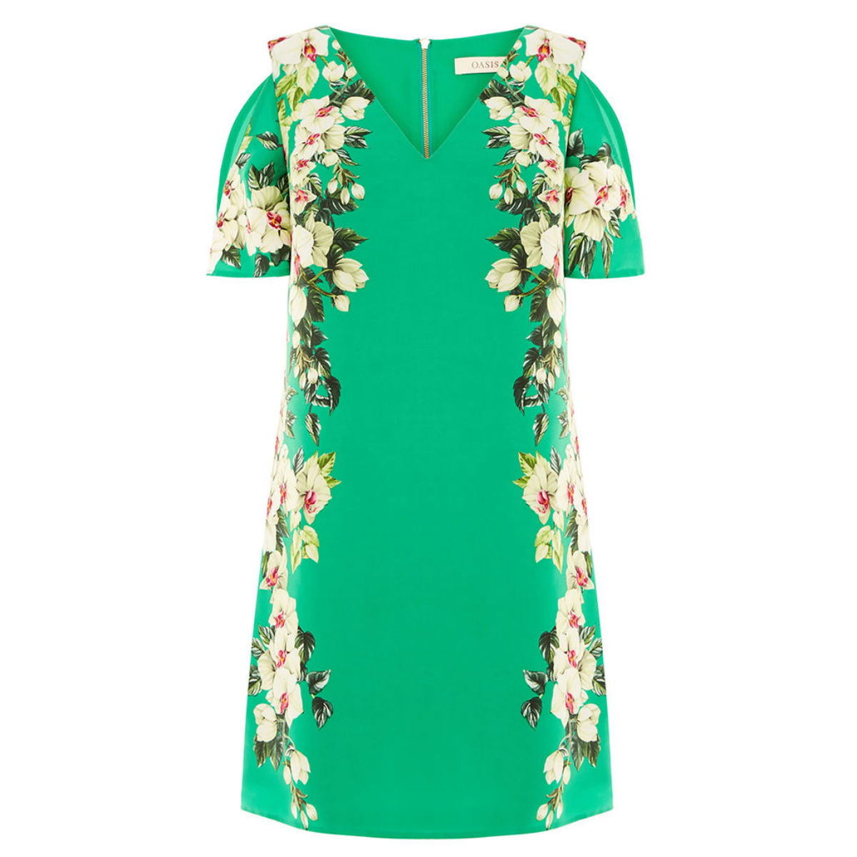 Tropical cold shoulder dress, £48, Oasis