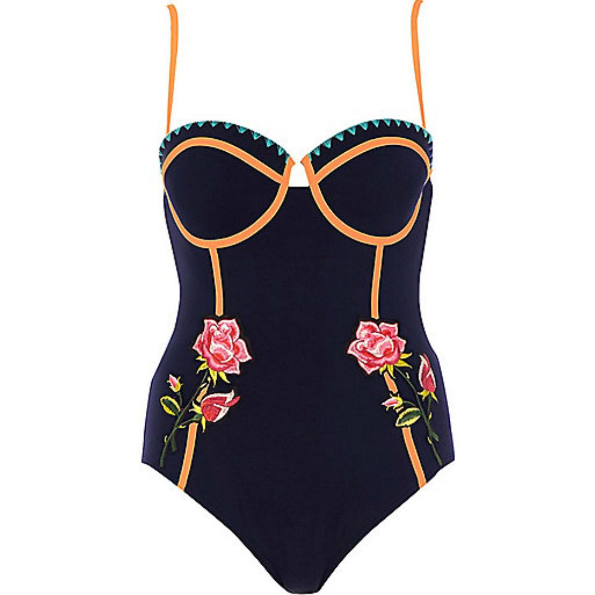 Navy floral applique balconette swimsuit, £38, River Island