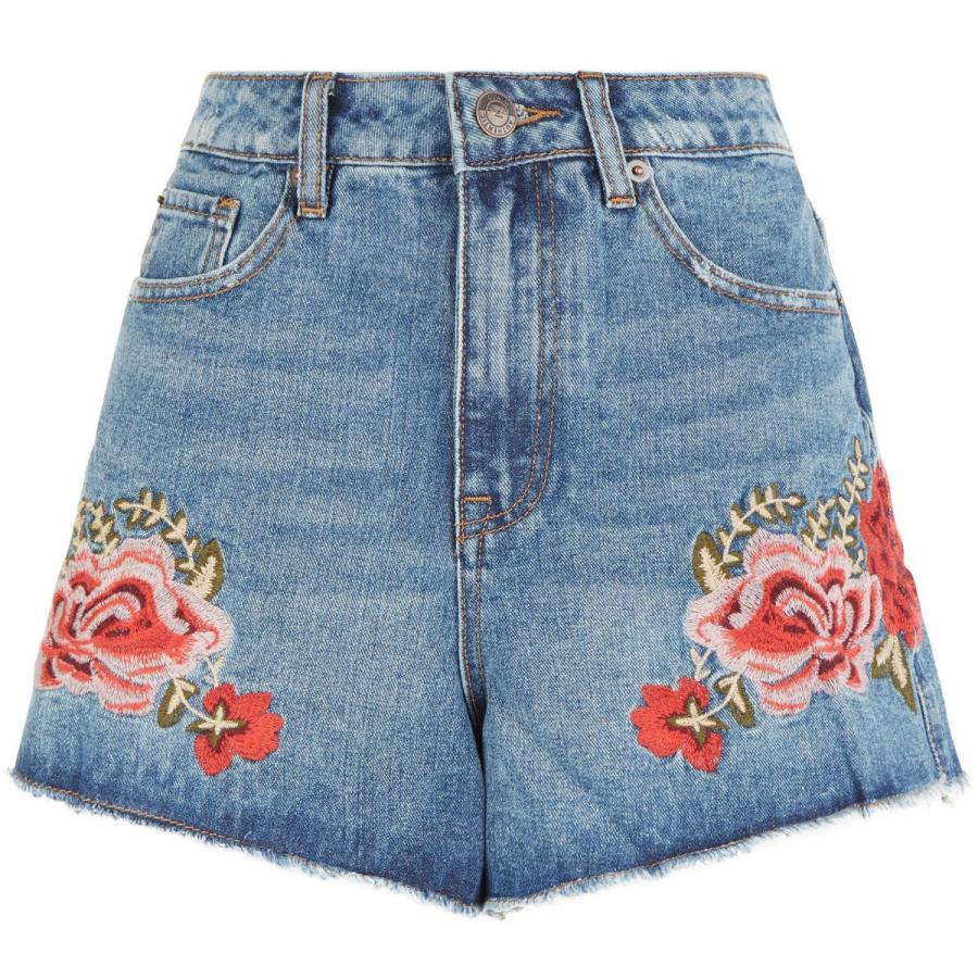 Blue rose embroidered denim mom shorts, £22, New Look