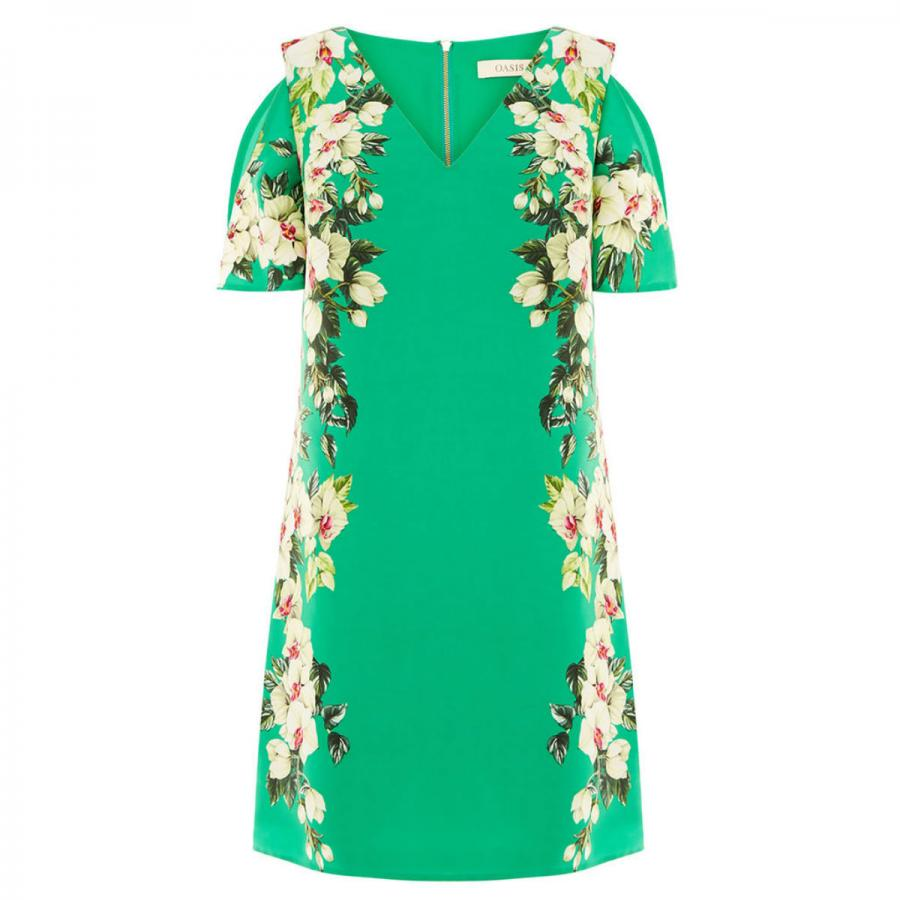 Tropical cold shoulder dress, £48, Oasis