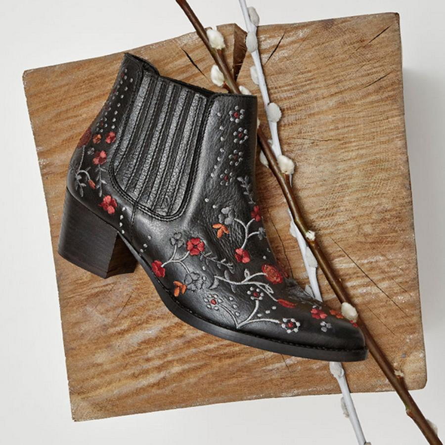 LA Chelsea boots with black leather embroidery, £90, Office