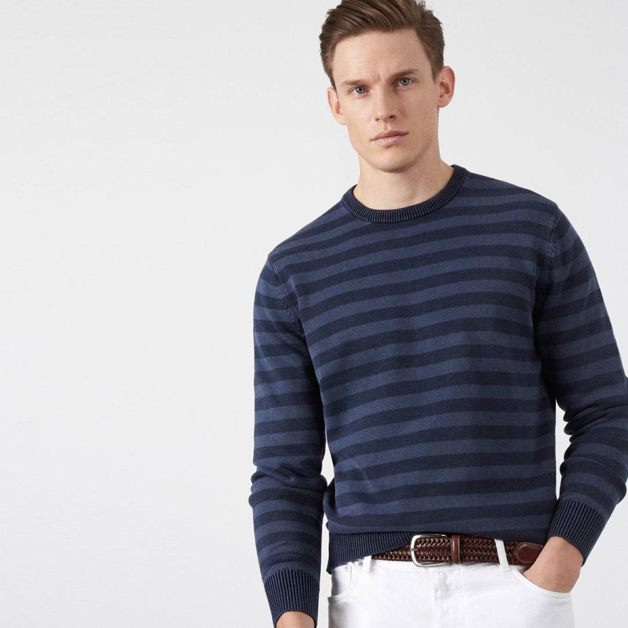 The light-weight knit - Garment dye striped crew neck jumper, £140, Hackett