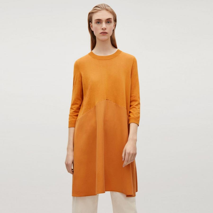 Mustard dress with twill skirt, £69, Cos