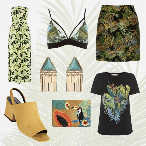 Jungle themed fashion bags, skirts, bikinis, shoes and playsuits at Buchanan Galleries.