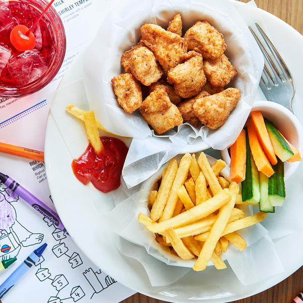 Plate of children's food at Byron, O2 Centre