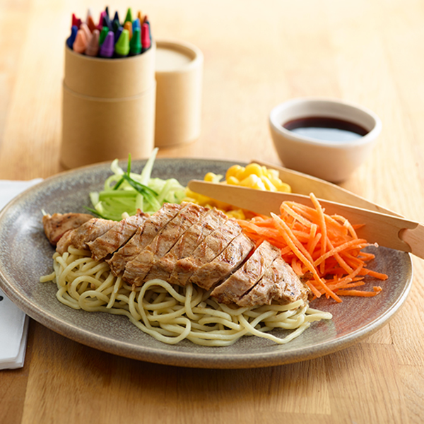 Children's food and crayons at Wagamama, O2 Centre