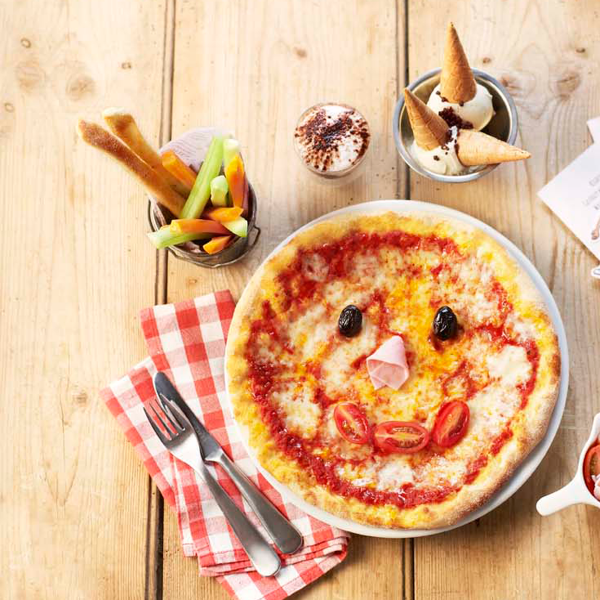 Plate of children's food at Zizzi, O2 Centre